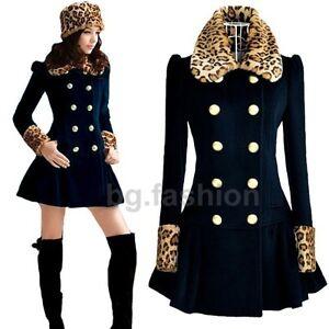 Damen Wintermantel Lang Leopard Mantel Jacke Zweireihig Wolljacke