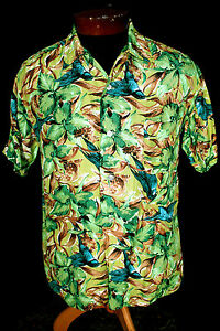 RARE-1950S-HAND-SCREEN-SILKY-RAYON-BLUE-HUMMINGBIRD-PRINT-HAWAIIAN-SHIRT-SZ-M