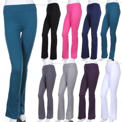 Womens/' Solid Plain Fold Over COTTON Flared Boot Cut Yoga Pants GOOD QUALITY
