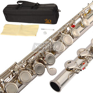 New-Brand-Silver-Flute-16-Keys-Closed-Hole-C-Tone-Silver-Plated