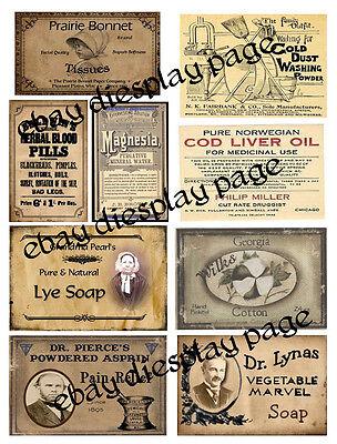 Prim Farmhouse Misc Labels ~ FH196 ~ Set of 9  - For Tins, Jars, Boxes,