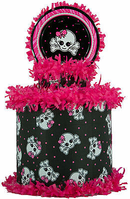 Pink and Black Skull Pinata