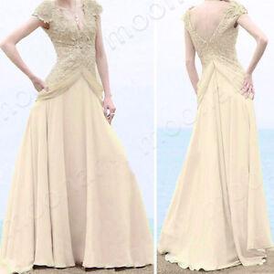 Charm-Girl-Deep-V-neck-Sequin-Formal-Gown-Long-Sweep-Dress-Bride-Wedding-Evening