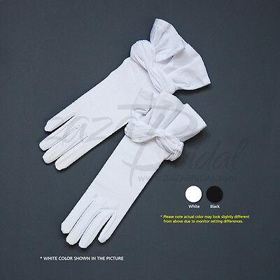 Elegant 4-WAY Stretch Matte Finish Satin/Shiny Stretch Satin Gloves with Ruffle