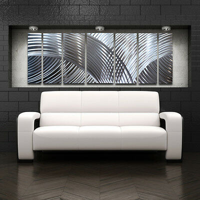 Metal Wall Art Modern Abstract Design Painting Large Home Decor Silver Panels