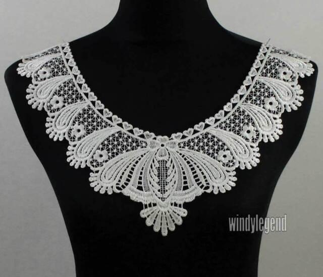 OFF WHITE NECK COLLAR COSTUME DRESS APPLIQUE VENISE LACE TRIMS CRAFT