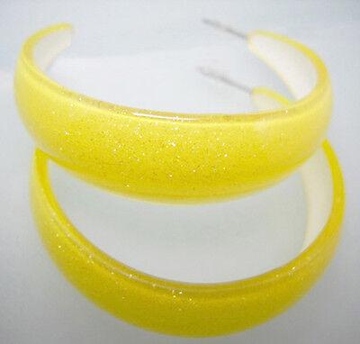 E2024 fashion yellow new elegant charm firm acrylic hoop earrings jewelry