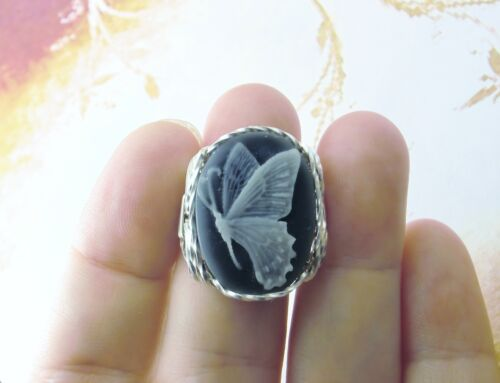 Butterfly Cameo Ring Sterling Silver Gray Fine Jewelry