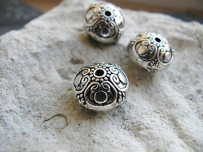 3 Metallperlen in silber, 1,6 cm, Perlen basteln, Schmuck herstellen