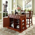 """Drop Leaf Breakfast Bar Top Kitchen Island in Cherry with 24"""" Shield Back Stools"""