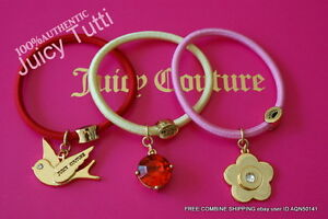 U-PICK-Juicy-Couture-Logo-Charm-Gold-PINK-RED-CREAM-Pontail-Hair-Tie-Bracelet