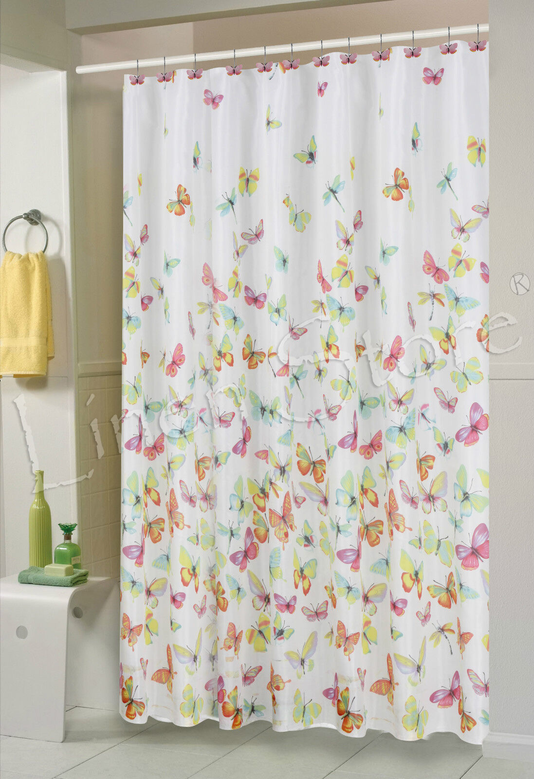 butterfly fabric shower curtain 70x70 colorful butterflies printed