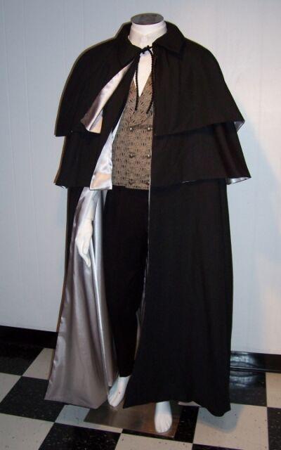VICTORIAN MEN'S OPERA Cape with 2 Capelets Black Cloak Floor Length White Domino