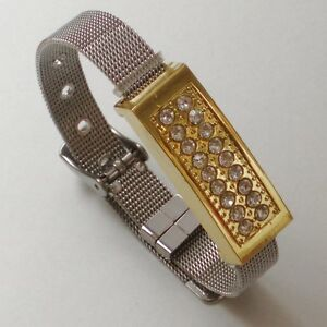 usb stick 4 gb schmuck metall armband armkette silber und gold farbig strass ebay. Black Bedroom Furniture Sets. Home Design Ideas