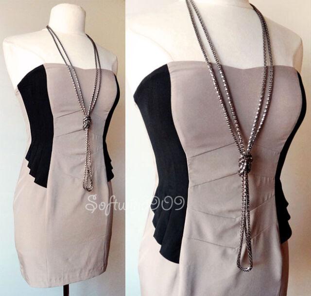 NEW Forever 21 Cocoa/Black Colorblock Pleated Peplum SEXY Strapless Mini Dress