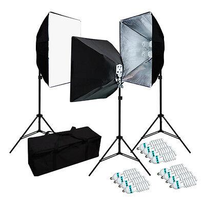 JS PHOTOGRAPHY STUDIO 4 SOCKETS LIGHT SOFTBOX LIGHTING KIT W/ BAG