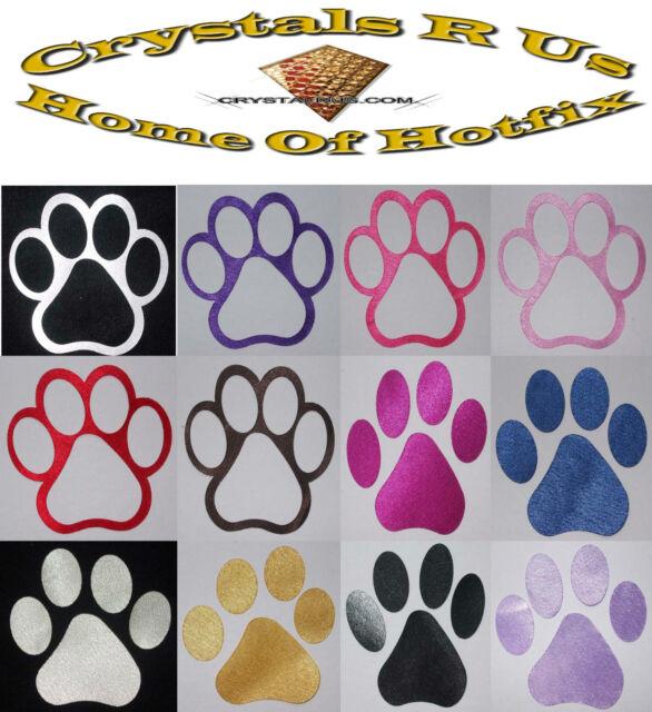 FABRIC SATIN SILK PAW DOG CAT ANIMAL IRON-ON CUSTOMIZE CLOTHE TRANSFER PATCH