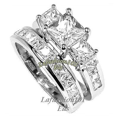 2.58ct PRINCESS CUT STAINLESS STEEL WEDDING/ENGAGEMENT SET RINGS SZ 5,6,7,8,9,10