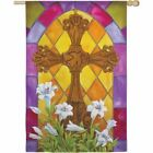 Stained Glass Cross Easter Decorative House Flag By Evergreen (131606)