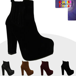 B3M-NEW-WOMENS-LADIES-TRENDY-PULL-ON-VERY-HIGH-BLOCK-HEEL-ANKLE-SHOE-BOOTS-SIZE