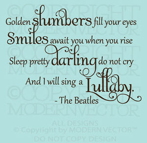 The-Beatles-Quote-Vinyl-Wall-Decal-Lettering-GOLDEN-SLUMBERS-Nursery-Baby-decor