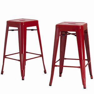 Set Of 2 Modern Design Red Backless Steel Metal Barstools
