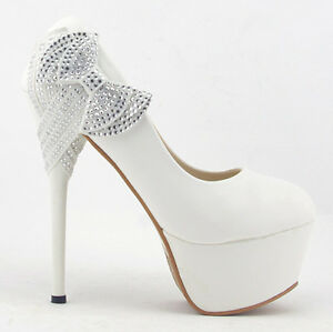 White Bows Princess Platform Stiletto High Heels Wedding ...