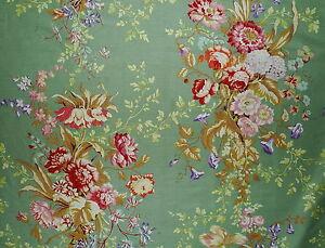PRELLE Campanula floral linen cotton print green France New Remnant