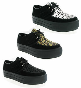 New-Womens-Hucksters-Flat-Wedge-Platform-Lace-Up-Creepers-Shoes-Goth-Size-3-8-UK