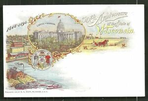 WI Wisconsin 50th Anniversay Art Nouveau 1898