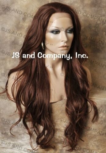 Heat Safe French Lace Front WIG Long Wavy Auburn Mix WBKM 33-130