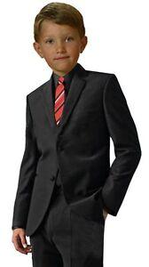 G190-Black-Shirt-Red-Tie-Boy-Formal-Tuxedo-Tux-Suit-Set-Sizes-Baby-to-Teens