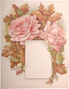 1910-Victorian-Color-Litho-Print-Rose-Floral-Frame