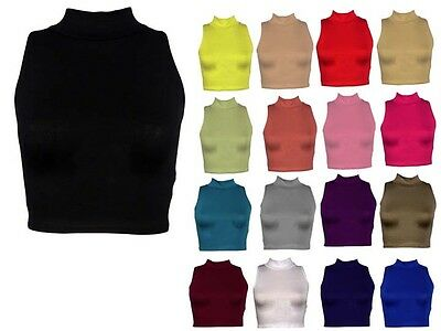 WOMENS LADIES SLEEVELESS POLO TURTLE NECK STRETCH CROP VEST TOP LOT 8,14