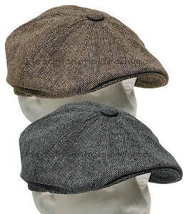 Tweed Gatsby Newsboy Cap Men Ivy Hat Wool Golf Driving