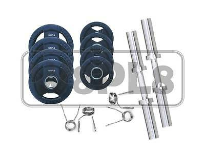 30kg Olympic dumbbell set NEW rubber coated plates