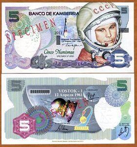 Specimen-Kamberra-Kingdom-5-Numismas-2011-UNC-Yuri-Gagarin