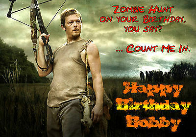 The walking dead birthday cards collection on ebay walking dead darryl dixon personalised happy birthday xmas greeting zombie card m4hsunfo