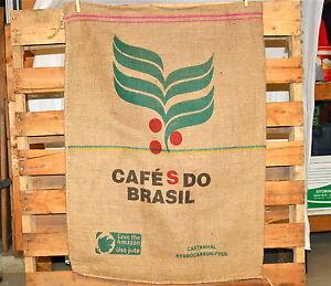 Authentic-Burlap-Coffee-Bean-Jute-Sack-High-Qlty-Cafes-Do-Brasil-bag-wall-art
