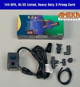 Rio 400 UL CE 3 Prong Ground Cord Aquarium Fountain Pump Powerhead 144 GPH NIB
