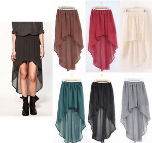 Sexy-Asymmetric-Long-Maxi-Skirt-Elastic-Waist-Band-Chiffon-Dance-Dress-6-Color