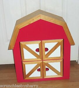 Red-Barn-Wall-Cabinet-Shelf-Spice-Bedroom-Kitchen-Wood-Roof-Kids-Room