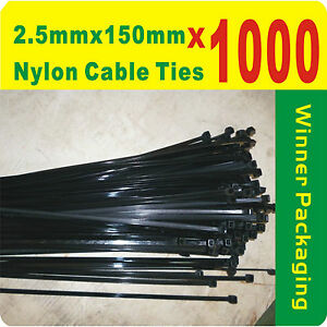1000 x Black Nylon Cable Ties 2.5mm x 150mm (3 x150mm) Free Postage