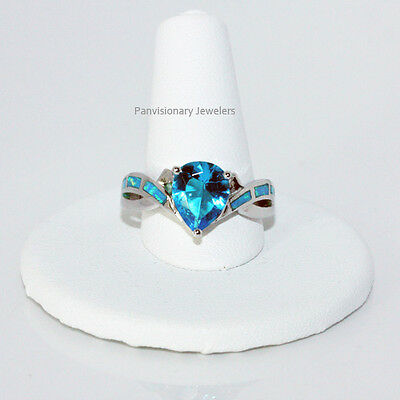 London Blue Topaz 8x10mm Pear Shape CZ w Opal Accents 925 Sterling Silver Ring