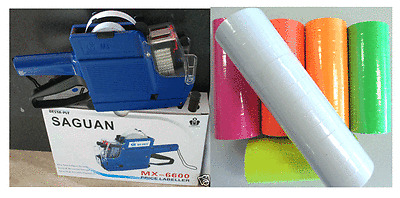 MX-6600 10 Digits 2 Lines Price Tag Gun labeler +1 Ink + 5000 White Tags