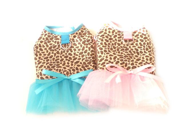 Pet Apparel Clothing Leopard Princess Dog Tutu Harness Dress Pink or Blue