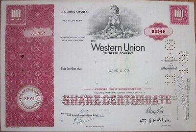 1969 'Western Union Telegraph Company' Stock Certificate