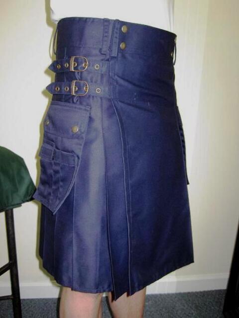 NEW NAVY BLUE UTILITY CARGO MODERN  Kilt Waist Sizes 30 - 52