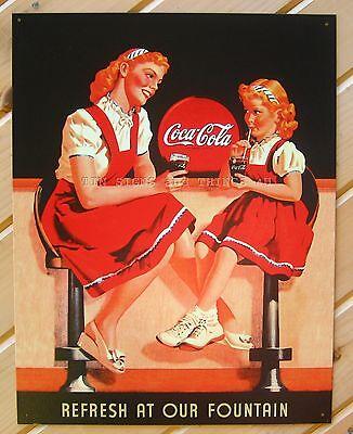 Coca Cola Retro Soda Fountain Girls TIN SIGN metal wall decor coke soda ad 1132
