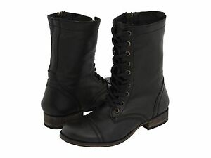 Womens-Shoes-STEVE-MADDEN-TROOPA-LEATHER-LACE-UP-COMBAT-BOOTS-BLACK